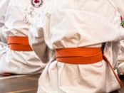 Children in karate clothing